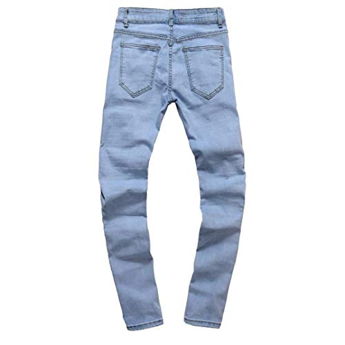 Jeans Uomo Chern Da Giovane Pantaloni Destroyed Blau Slim Di Strech Skinny Denim Holes Fit 5r5wg6
