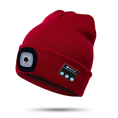 Unisex Bluetooth Beanie Hat with Light,4 LED USB Rechargeable Wireless Headphones Tech Caps,Gifts for Men Father Dad…