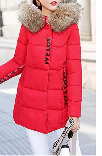 Collar Women's Fit Hooded Faux Red Length Fur Down Coat LaoZanA Hem Wide Padded Pattern Mid Student Slim Jacket Letter Cc4wq1nXn