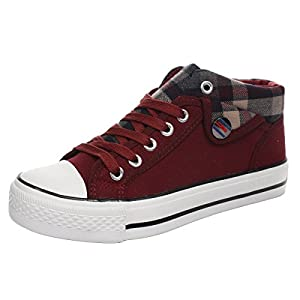 iMaySon Casual Fashionable Lace-up Plaid Plats Canvas Shoes For Women(5.5 B(M) US, Red)