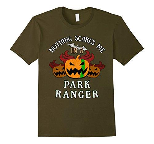 Mens Park Ranger Blue Line on Pumpkin for Halloween Party XL Olive