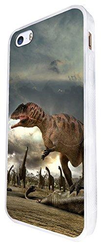 1057 - Cool Fun Dinosaur Art T-Rex Triceratops Stegosaurus Spinosaurus (5) Design iphone SE - 2016 Coque Fashion Trend Case Coque Protection Cover plastique et métal - Blanc