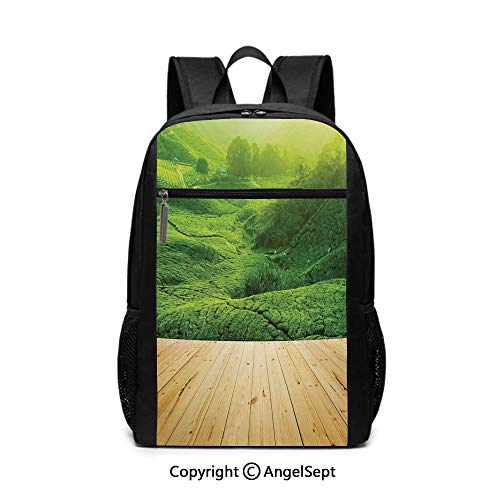 Middle School Backpack,Highlands Tea Plantations from Wood Balcony Perspective Sunrise in Eary Morning with Fog,Green,6.5