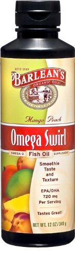 Barlean de Swirl Mango Peach huile de poisson, 12 onces