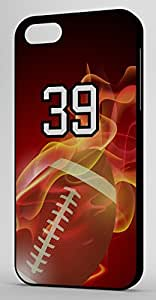 Flaming Football Sports Fan Player Number 39 Black Plastic Decorative iPhone 6 PLUS Case