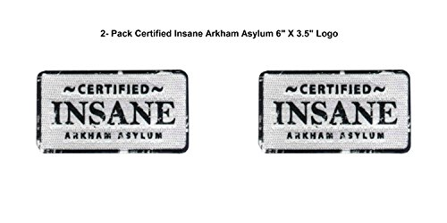 (2- Pack) DC Comics Certified Insane Arkham Asylum Logo Iron/Sew-On Embroidered 6
