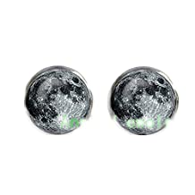 Moon Stud Earrings, Pastel Goth Grunge Boho Jewelry, Boho Chic Hippie Outer Space Bohemian Jewelry, Gypsy Moon Earrings, Science Jewelry