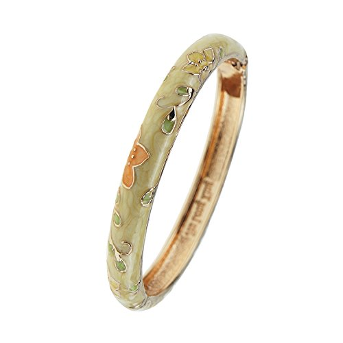 (UJOY Handcraft Bangle Enameled Floral Colorful Cloisonne Jewelry Gold Spring Hinged Cuff Bracelets Gifts for Holiday Birthday 55B20 Yellow)