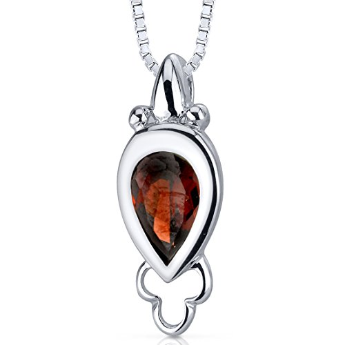 Pear Cut Garnet Pendant Sterling Silver Rhodium Nickel Finish