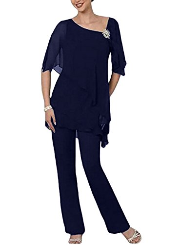 99fd462c9ba Navy Mother of The Bride Pant Suit Plus Size for Wedding US4