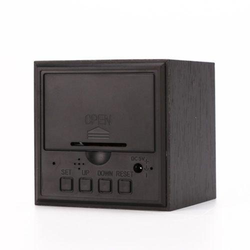 Modern Wooden Wood Digital LED Desk Alarm Clock Thermometer Timer Calendar (Color : Black)