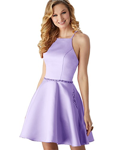 Gown A Homecoming Pockets Beaded Women's Formal Satin line Lilac Dress with Short Halter qgzPExPX