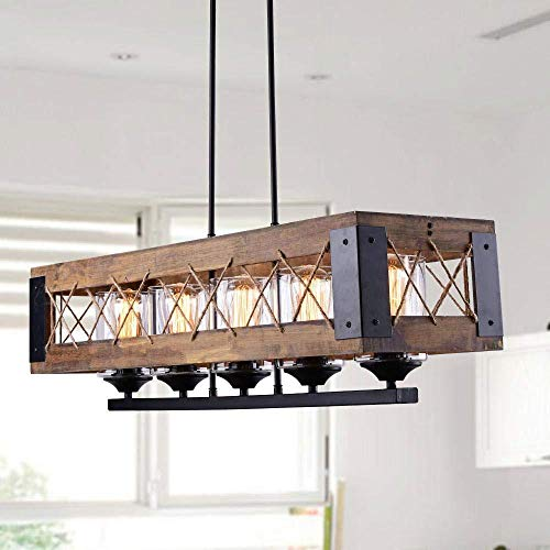 LEDMO Industrial Metal Island Lighting, Kitchen Pendant Lighting, Dining Room Chandelier, Pool Table Light, Brown Finish