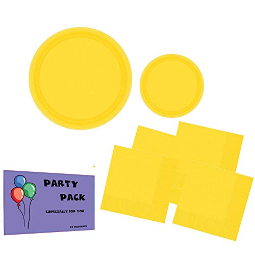 Big Party Supplies Pack Sunshine Yellow Color Bundle set for 50 Guests 9