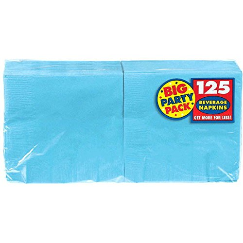 "Caribbean 6 Piece - Amscan Big Party Beverage 6 Packs Per Case Disposable Napkins (125 Count), Caribbean Blue, 5"" x 5"""