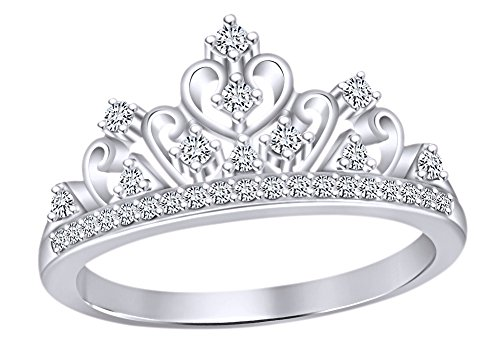 AFFY Round Cut White Cubic Zirconia Princess Crown Ring in 14k White Gold Over Sterling Silver ()