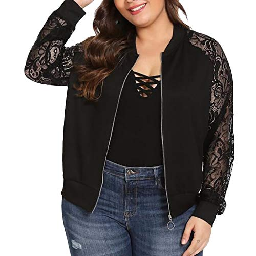 Witspace Womens Solid Plus Size Lace Loose Shawl Cardigan Top Cover Up Long Sleeve Blouse