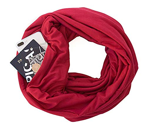 Zipper Pocketed Travel Scarf,Infinity Scarf with Pocket (Garnet Red)