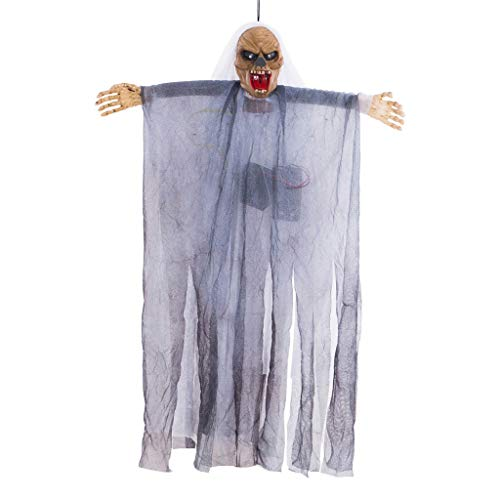 Scary Halloween Movies Full Length (Shan-S Sound Control Scary Animated Cap Gauze Ghost Creepy Cloth Hanging Decoration Halloween Festival Supplies for Haunted House Graveyard Party)