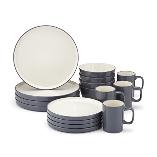Food u0026 Wine For Gorham Modern Farmhouse 16-Piece Dinnerware Set Dusk  sc 1 st  Amazon.com & Modern Dinnerware Set: Amazon.com