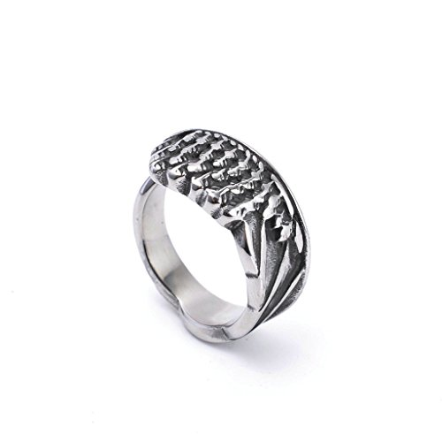 Men's 316L Stainless Steel Angel Wings Ring Silver Gothic Vintage Biker Size - Wings Malaysia Band