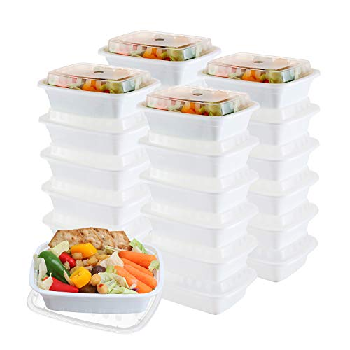 (50-Pack meal prep Containers - Single 1 Compartment bowls with Lids Reusable food Storage Lunch Boxes - Bento Box, BPA-Free Food Grade - Microwave, Freezer & Dishwasher Safe - (12 Oz))
