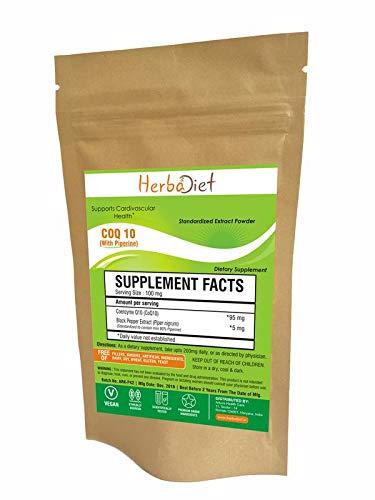 Pure CoQ10 Coenzyme Q10 Powder Anti-Aging Antioxidant Heart Health w/- Piperine (10 Gram)