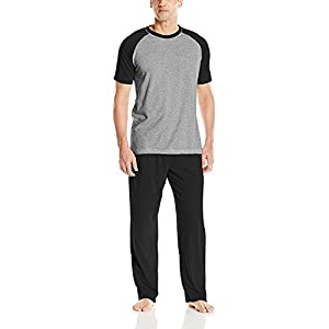 Hanes Men's Adult X-Temp Short Sleeve Cotton Raglan Shirt and Pants Pajamas Pjs Sleepwear Lounge Set