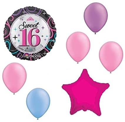 Amazon LoonBalloon Sweet 16 16th Neon Hot Pink Blue Purple 7 Pc