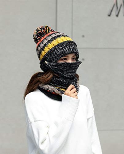 Et L'hiver Couleur Femme 2 En Bonnet Velours De Écharpe Masque Tricotée Pour Acmede Chaud Doublé BvTtqUqx