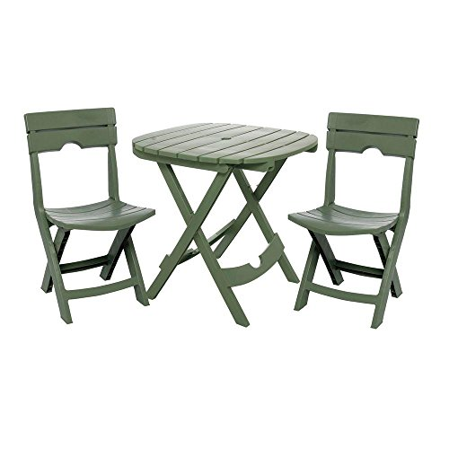 Adams Manufacturing Weather Resistant Lightweight Durable Resin Comfortable Sturdy Outdoor Recreation Quik-Fold 3-Piece Patio Cafe Bistro Set, Sage
