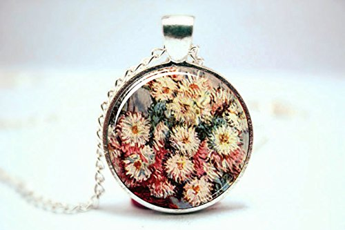 (Pretty Lee 2015 Fashion Claude Monet Necklace Claude Monet Flower Painting Art Jewelry Silver Plate Glass Photo Cabochon Necklace Christmas gift )