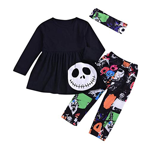 (WILLTOO Baby Girls Halloween Costume Ghost Print Long Sleeve Party Outfit Set)