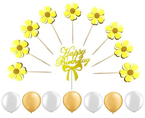 "Elecrainbow 18 Pcs Flower Cupcake Toppers with Gold Glitter ""Happy Birthday"" Kit and Pearlescent Party Balloons, 39 Pack Light (Pearlescent Spikes)"