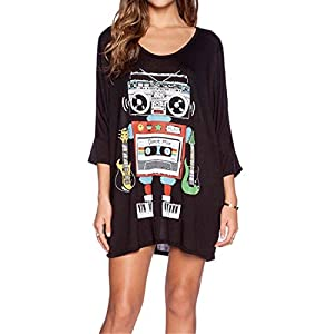 Black Womens Colorful Robot Printed Flare Sleeve Round Neck Loose Casual Dress