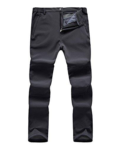 Jessie Kidden Men's Outdoor Windproof Waterproof Hiking Mountain Ski Pants, Soft Shell Fleece Lined Trousers#NK-801,Grey,US M