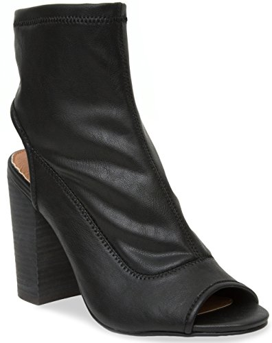 Rampage Open Toe Heels - Rampage Women's Tionna Open Heel Peep Toe Stretch Ankle Boot Bootie 7.5 Black Smooth