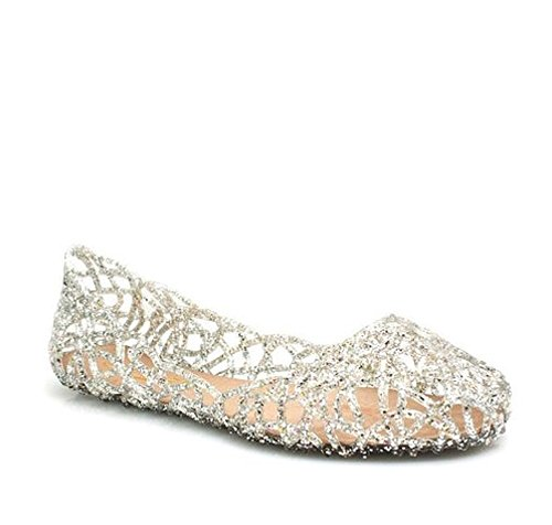 - Major-Q Glaze Alaska-1 Silver Multi Glitter Women's Jelly Ballet Flat (8)