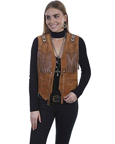 Scully Women's Leatherwear by Boar Suede Beaded Fringe Vest Brown Small