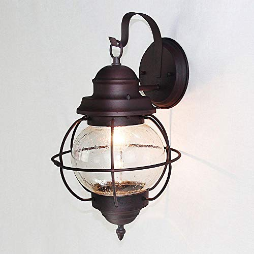 - LNC Exterior Light Fixtures Farmhouse Outdoor Wall Lantern in Bronze Finish with Seeded Glass, for Porch, Yard, A03195