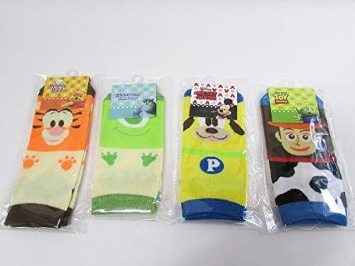 ディズニー キャラクター 顔柄 ジュニア ソックス 靴下 4点セット 子ども用 (サイズ19~24cm) DisneyF