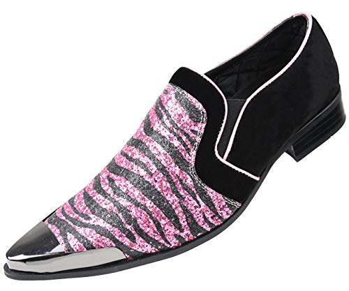 Amali Men's Exotic Print Metallic Sparkle Slip on with Faux Suede Trim & Metal Tip Dress Shoes ()