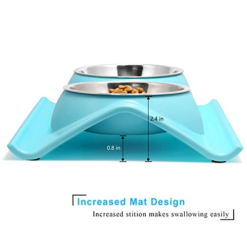 UPSKY Double Dog Cat Bowls Premium Stainless Steel Pet Bowls No-Spill Resin Station, Food Water Feeder Cats Small Dogs (Sky Blue)