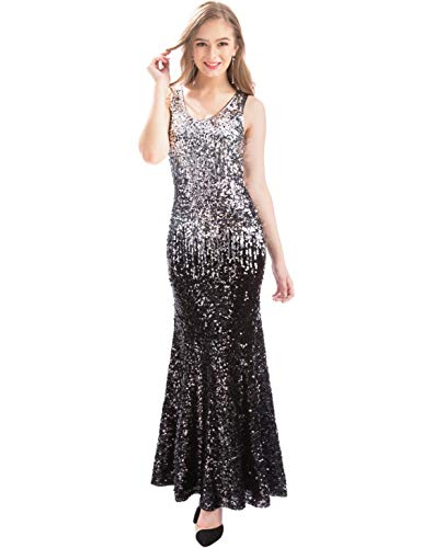 MANER Women V Neck Sequin Long Dress Sleeveless Evening Prom Mermaid Gowns (Silver/Gray/Black, L) ()