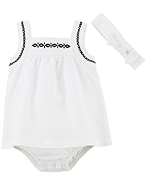 Just One You Baby Girls' Sleeveless Romper and Headband - White