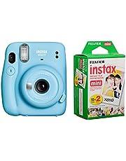 Fujifilm Instax Mini 11 Instant Film Camera, Sky Blue - with Fujifilm instax Mini Instant Daylight Film Twin Pack, 20 Exposures