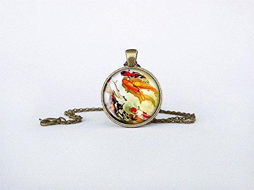 ndmade Japanese Art Pendant Asian Jewelry Birthday Gift Round Glass Carp Pendant cb151 ()