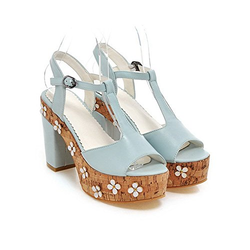 AmoonyFashion Womens Solid PU High-Heels Open-Toe Buckle Sandals Blue Wpq7aVE