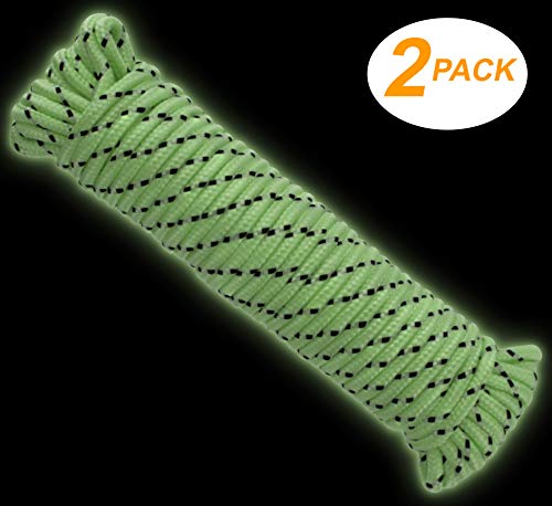 Ram-Pro 2 Pack Glow in The Dark Rope Cord - Polypropylene 50 Feet Accessory Cord Climbing Rope Premium Quality Tree Mountain Climbing Equipment, Gym Exercise Multi use by Ram-Pro