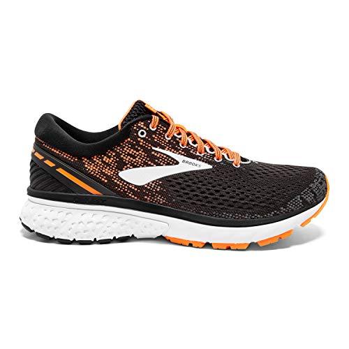 Brooks Mens Ghost 11 Running Shoe - Black/Silver/Orange - D - 12.0